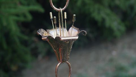 Good Directions Flowers Rain Chain in Polished Copper