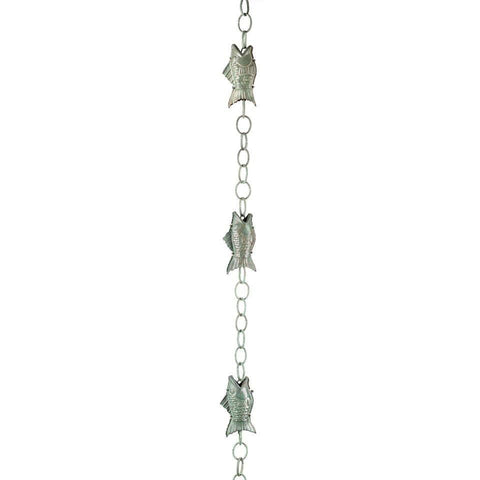 Good Directions Fish Rain Chain in Blue Verde Copper