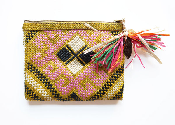 Boho Zip Pouch - Yellow/Pink