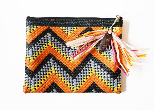 Boho Zip Pouch - Blue/Orange