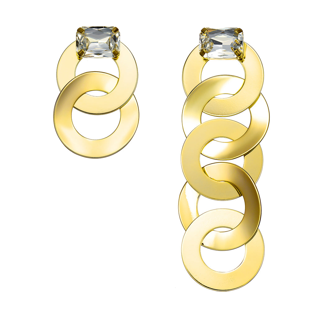 Golden Earrings w/ Crystal