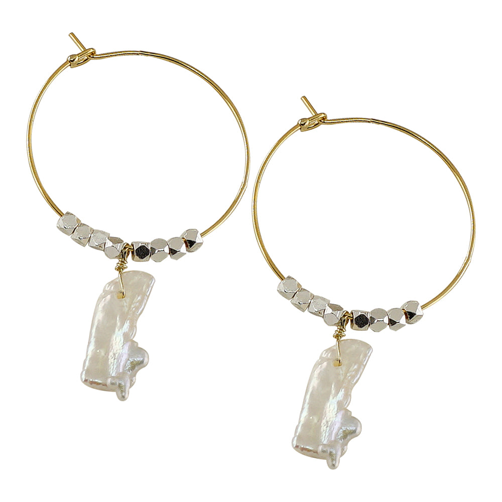 Golden Hoops w/ Mother of Pearl