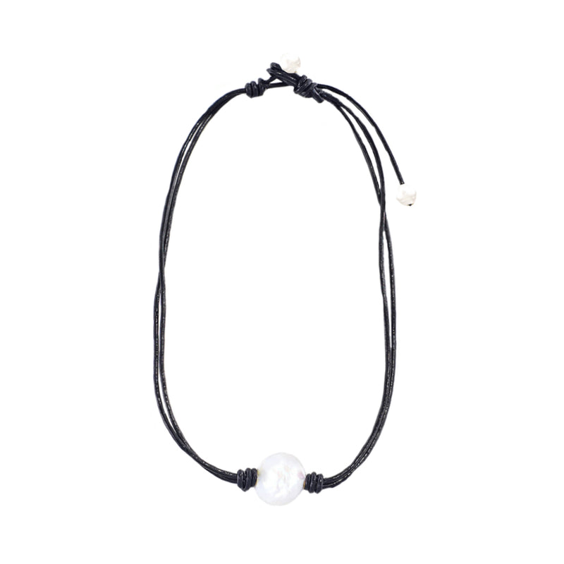 Black Natural Leather String w/ Cultured Pearls
