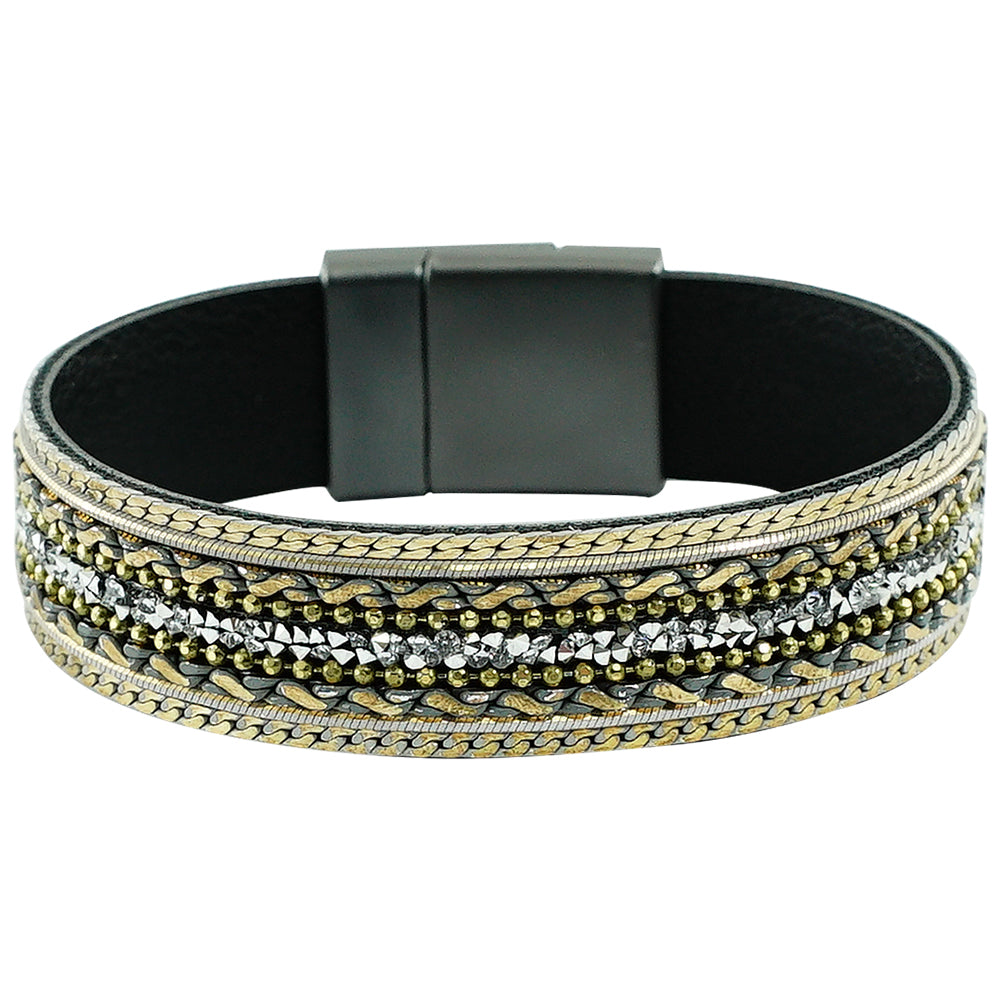 Gunmetal Bracelet w/ Crystals & Chains