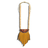 Orange & Black Fringe Necklace