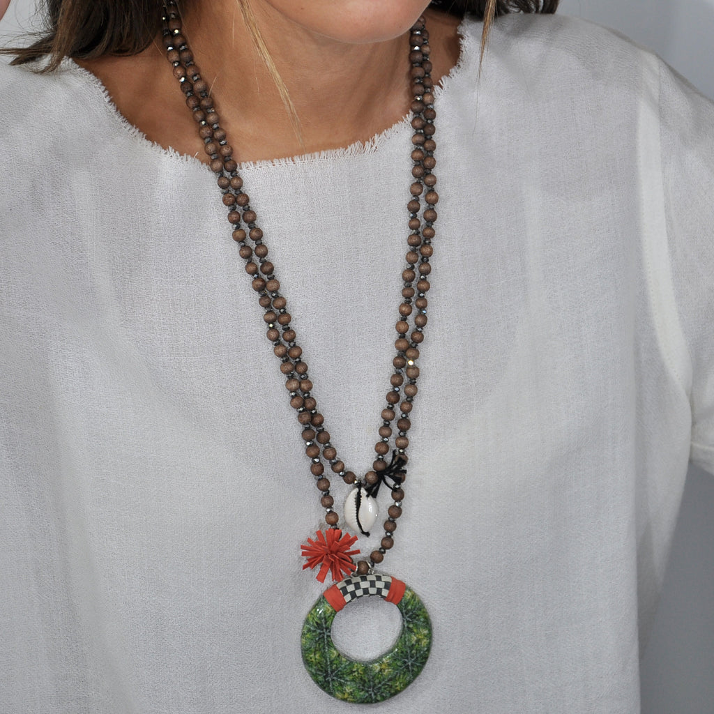 Wooden Necklace w/ Resin Pendant, Conch & Tassel