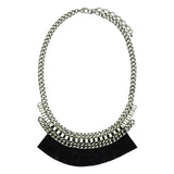 Silver Necklace with Black Fringe
