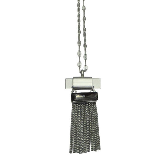 Silver Necklace with Fringe & Crystal