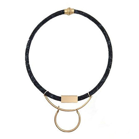 Black Necklace with Gold Pendant