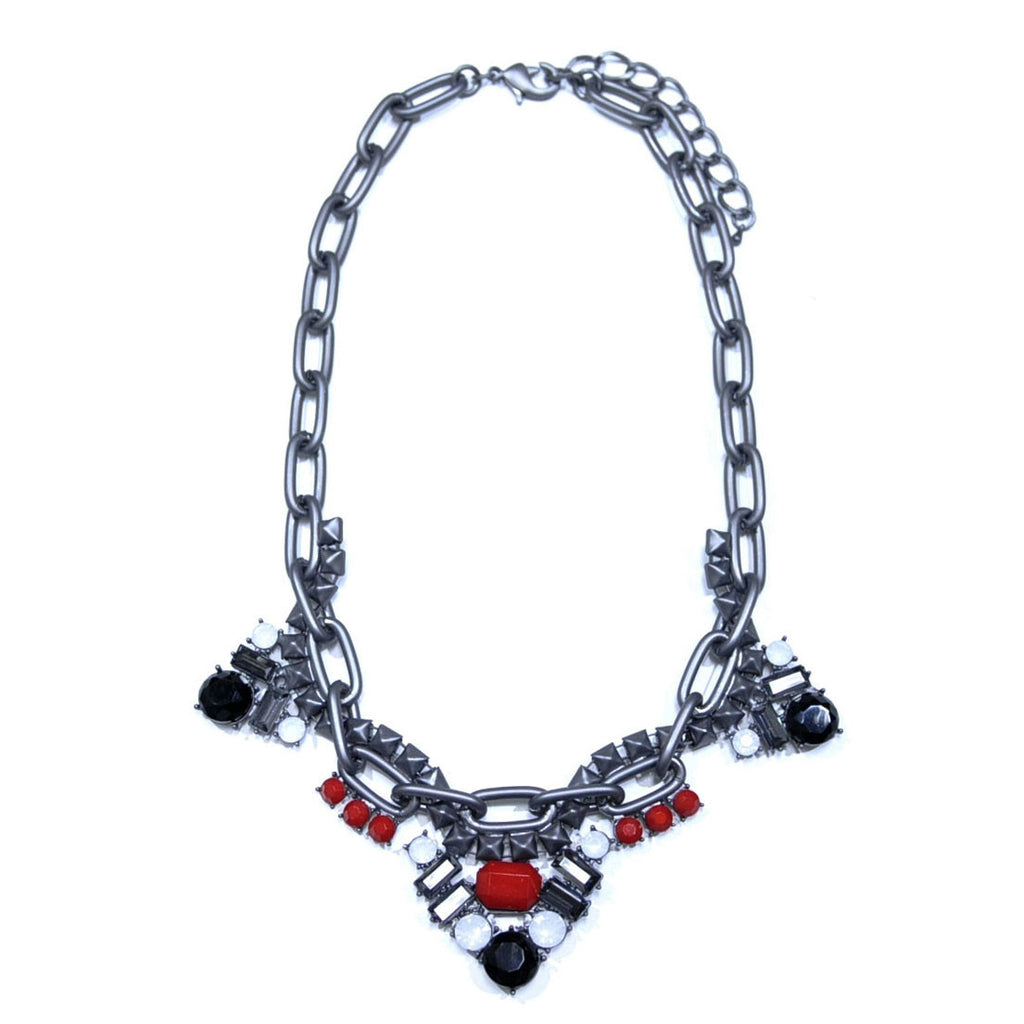 Gun Metal Necklace with Crystals