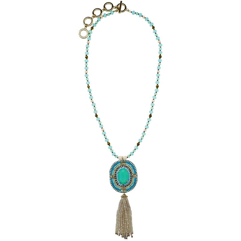 Turquoise Crystal & Stones Necklace w/ Pendant