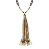 Brown, Gold & Beige Crystal Necklace w/ Pendant