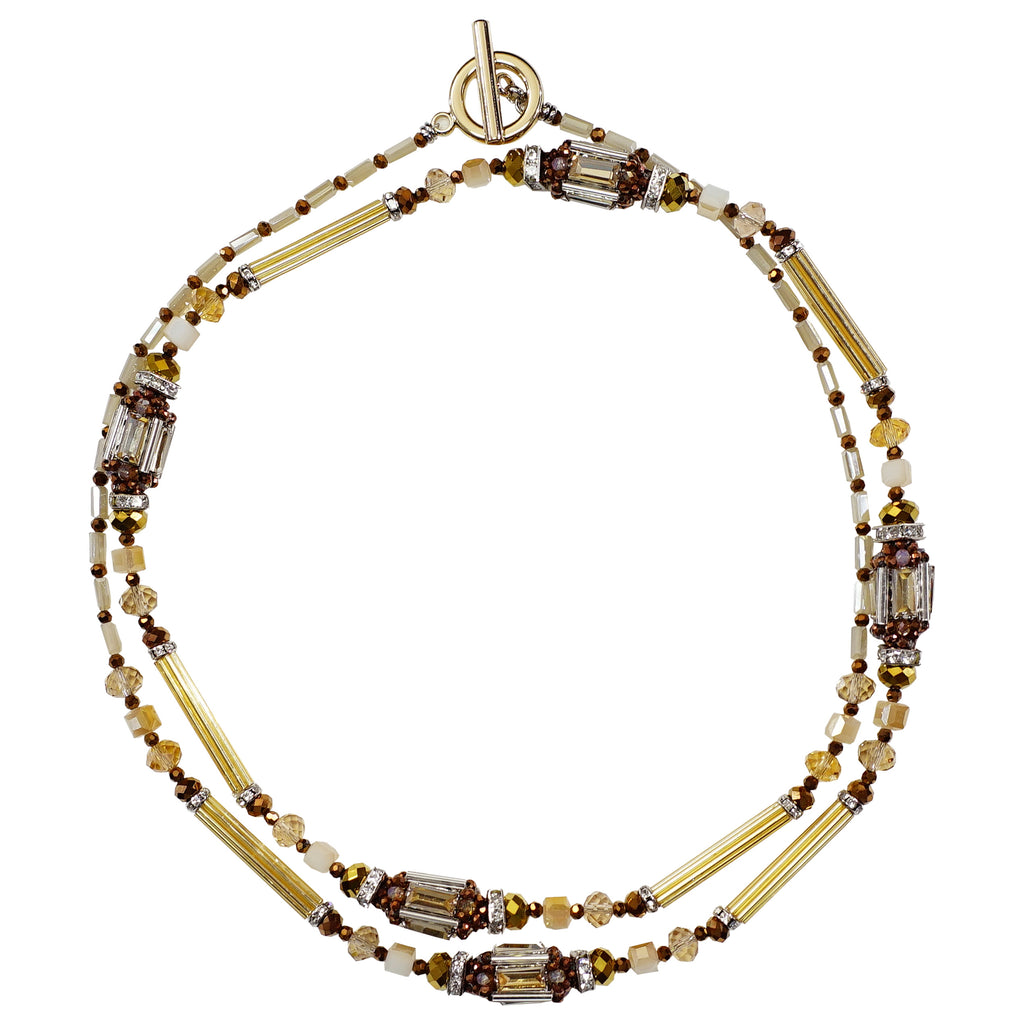Brown, Gold & Beige Crystals Necklace