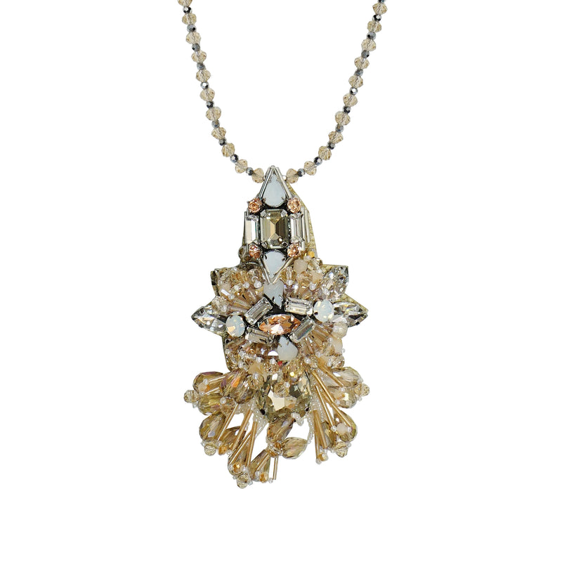 Beige Crystal Necklace w/ Pendant