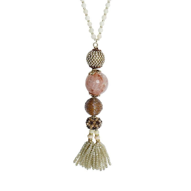 White Crystal Necklace w/ Stone & Crystal Pendants