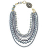 Multi-row Cultured Pearl Necklace w/ Crystals