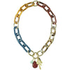 Multicolored Resin Necklace w/ Agathe Stone Pendants