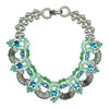 Blue & Green Crystal Necklace w/ Freshwater Pearls