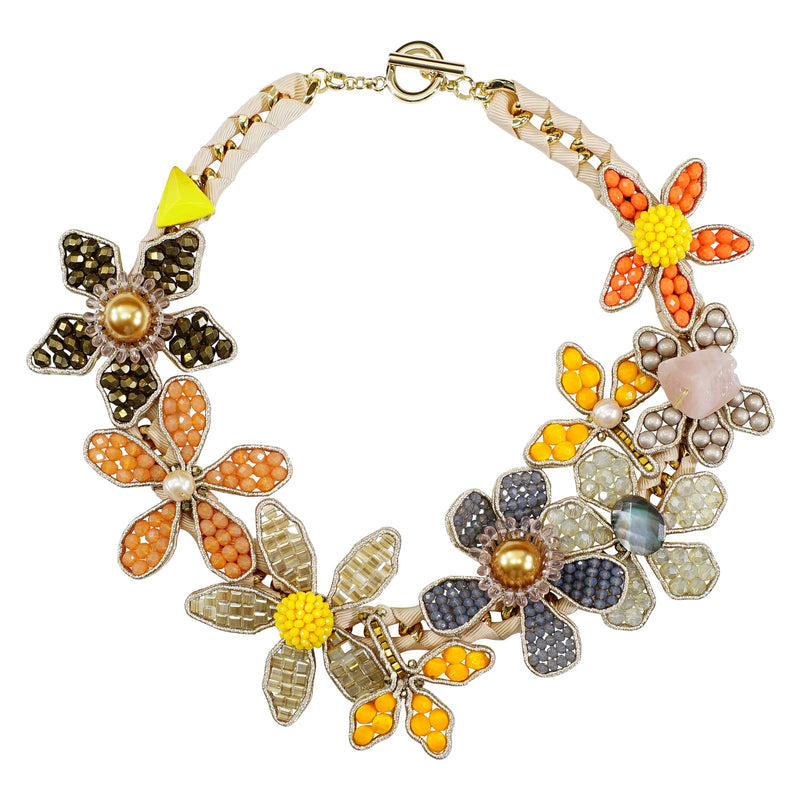 Multicolored Crystal Flower Necklace