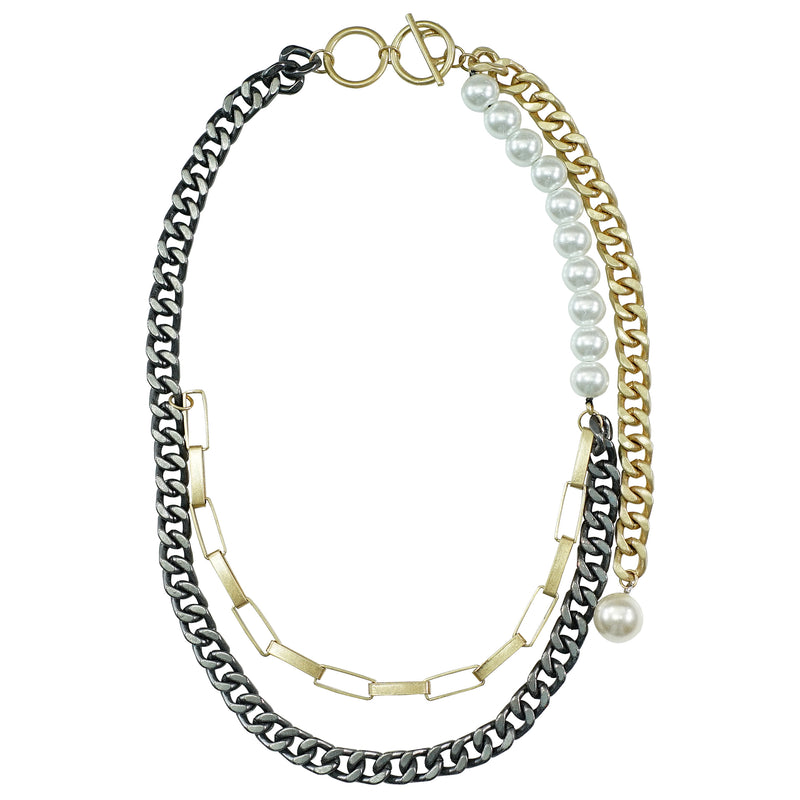 Gunmetal & Golden Chains Necklace w/ Cultured Pearls