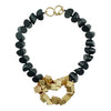 Black Wood Necklace w/ Golden Details