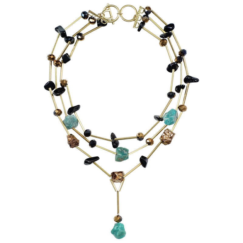 Golden Necklace w/ Black, Turquoise & Copper Stones