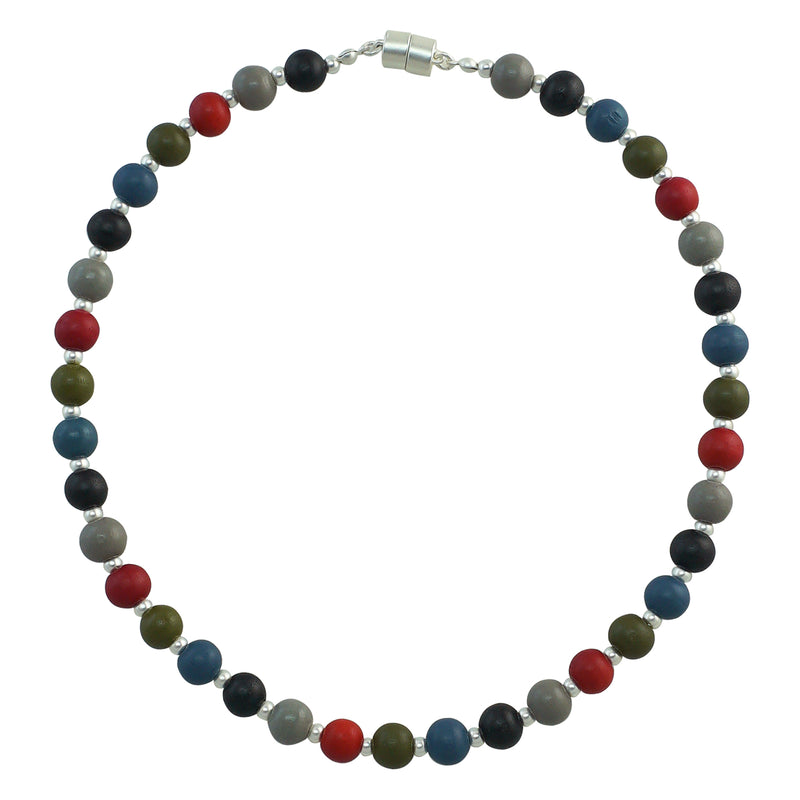 Silver Plated Necklace w/ Multicolored Wood Pieces
