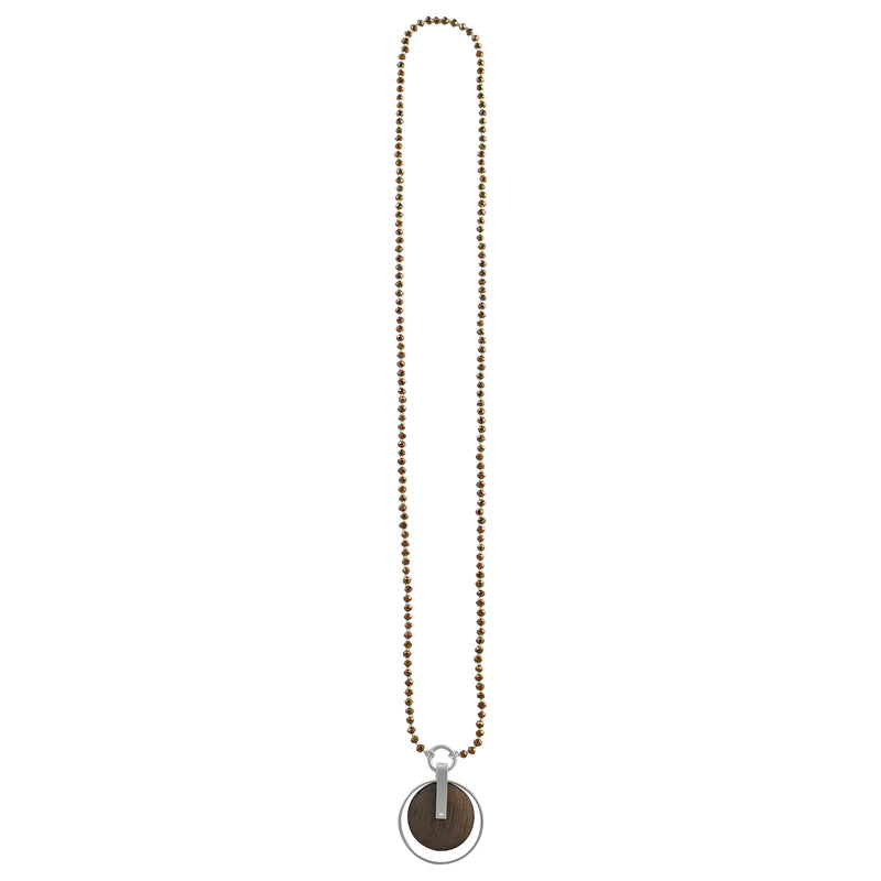 Brown Crystal Necklace w/ Silver & Wooden Pendant