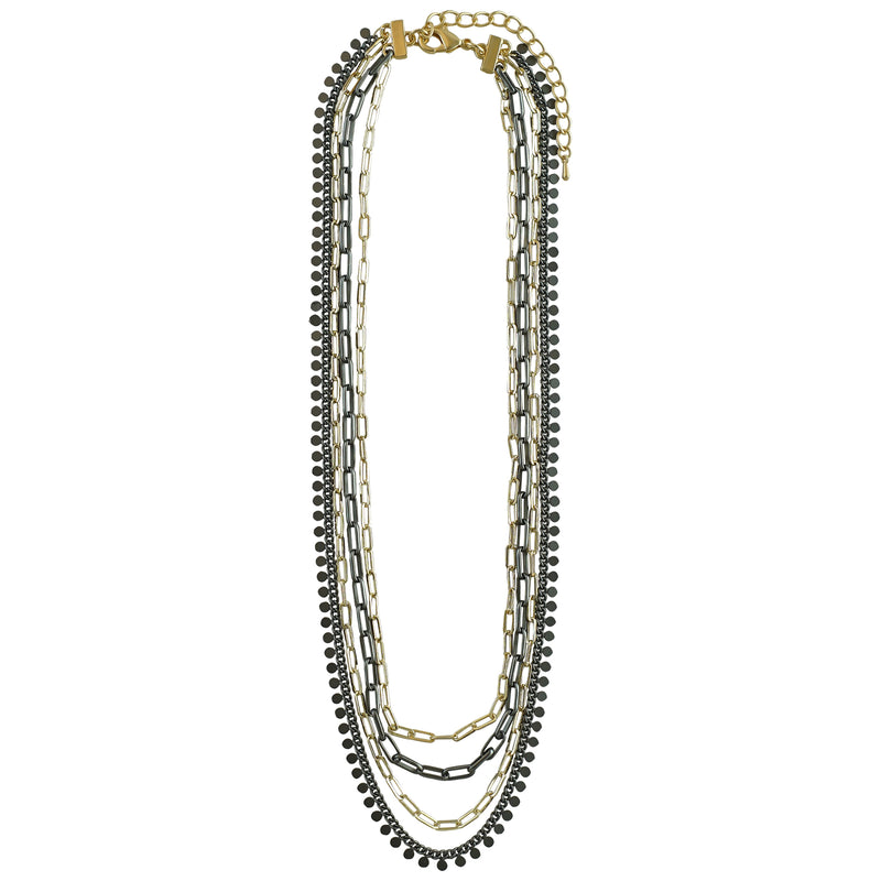 Gold Plated & Gunmetal Chains Necklace