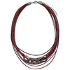 Bordeaux Leather Necklace w/ Gunmetal Details