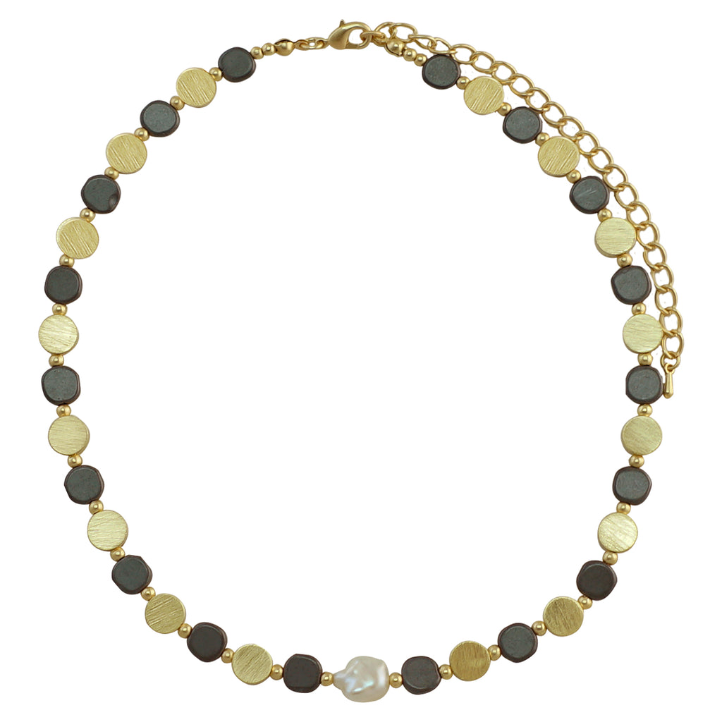 Golden & Gunmetal Necklace w/ Mother of Pearl