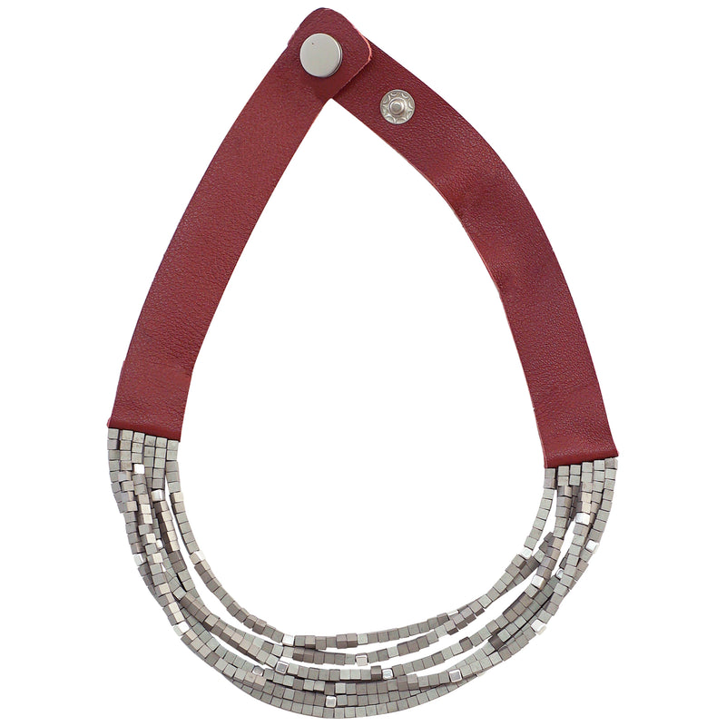 Bordeaux Leather Necklace w/ Silver Details