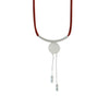 Bordeaux Suede Necklace w/ Silver Plated Pendants