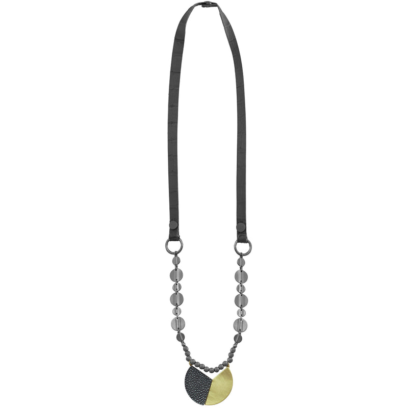 Gunmetal Necklace w/ Leather & Golden Pendant