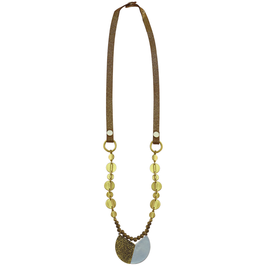 Golden Necklace w/ Leather & Golden/Silver Pendant