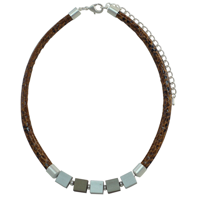 Brown Leather Necklace w/ Silver & Gunmetal Details