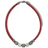 Red Leather Necklace w/ Pendants