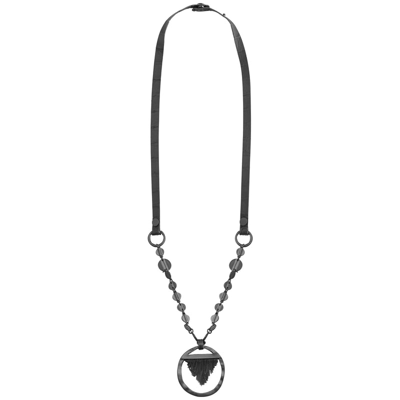 Gunmetal Necklace w/ Leather & Pendant