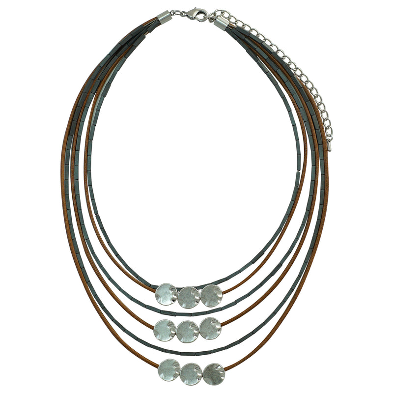 Silver Plated Necklace w/ Leather & Gunmetal Details