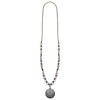 Grey Suede Necklace w/ Gunmetal Chains