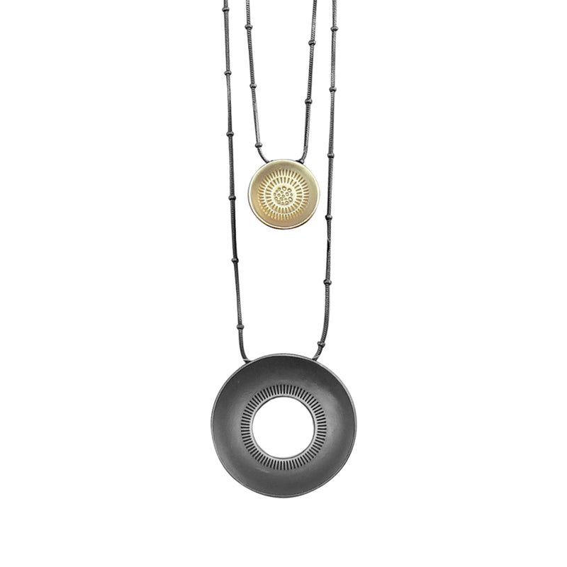 Gunmetal Necklace w/ Golden & Gunmetal Pendant