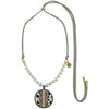 Grey Suede Necklace w/ Cultured Pearls & Pendant