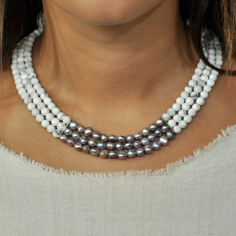 White Stone Necklace w/ Cultured Pearls