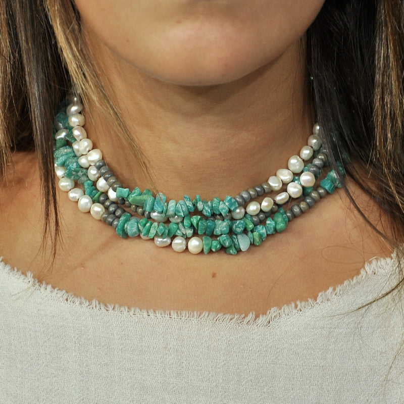 Turquoise Stones Necklace w/ Cultured Pearls