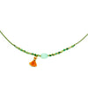 Green string Necklace w/ green beads, blue stone and orange tassel