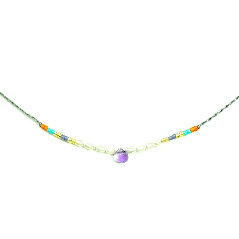 grey string necklace w/ multicolored miyuki beads, pearls and purple sotne