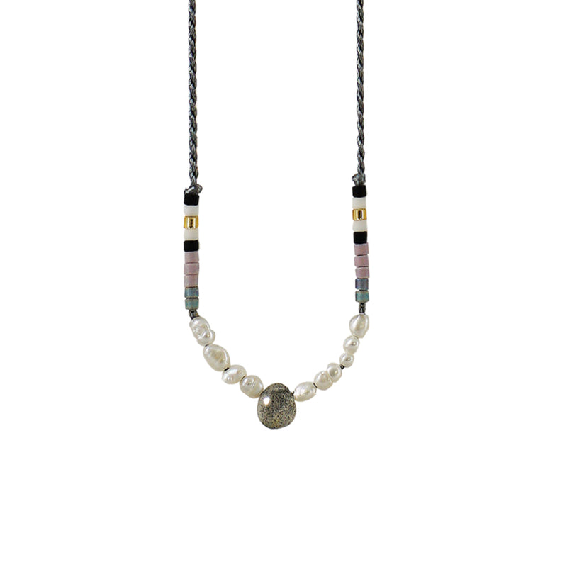 Grey Necklace w/ Grey Stone & Cultured Pearls