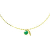 Gold Necklace with Green Enamel and Feather Pendant