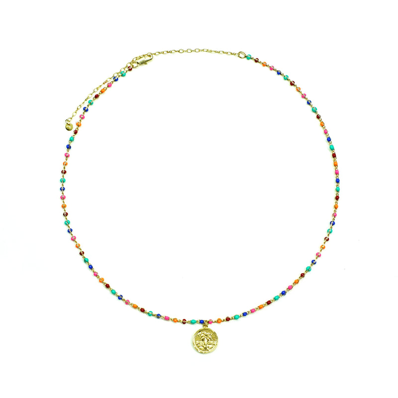 Multicolored Necklace with round pendant