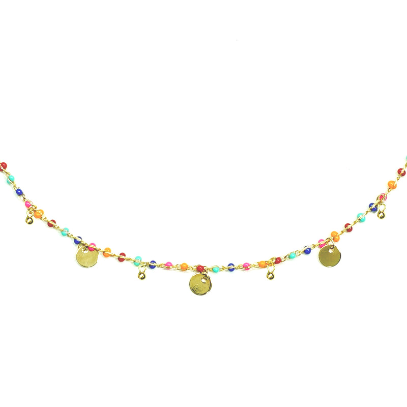 Multicolored Necklace With round golden pendants